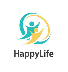 Human happy life logo vector