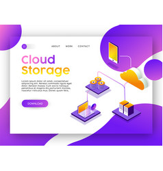 Internet web app landing page for cloud storage vector