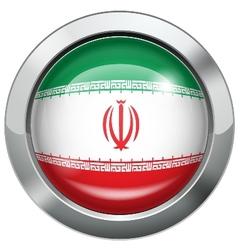 Iran flag metal button vector image