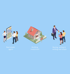 isometric concept for home agent sale and rent of vector image