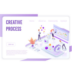 isometric people pushing gears and analyzing data vector image