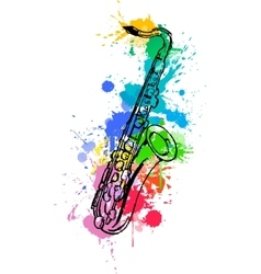 Jazz hand drawn saxophone colored with paint vector