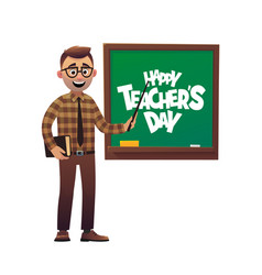 Kind teacher man stands at the blackboard happy vector