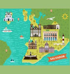 landmarks sightseeing places on map of salvador vector image