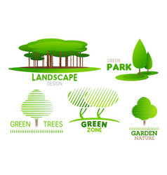 Landscaping design garden tree icons vector