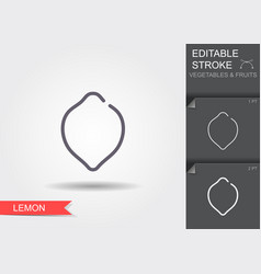 lemon line icon with editable stroke with shadow vector image