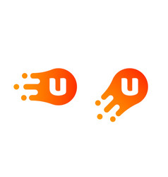 letter u logo abstract liquid bubble drop vector image