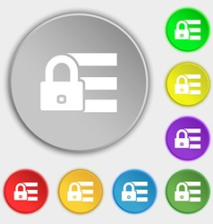 Lock login icon sign Symbols on eight flat buttons vector image