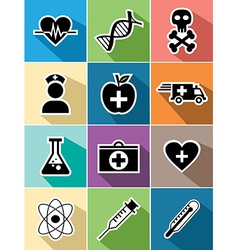 Medical healthcare flat icons set design vector