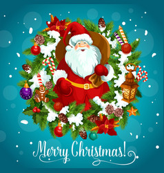 Merry christmas poster with santa claus and snow vector