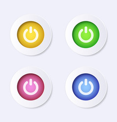 modern website power icon colourful buttons vector image