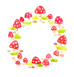 mushroom grass and rock circle frame watercolor vector image