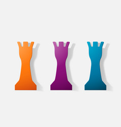 Paper clipped sticker a chess piece rook vector