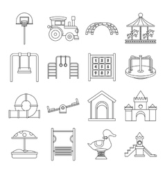 Playground icons set outline style vector