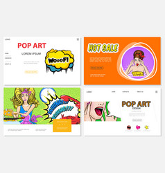 pop art websites collection vector image