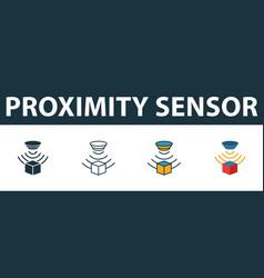 Proximity sensor icon set premium symbol in vector