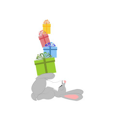 rabbit with presents vector image