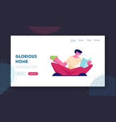 reading hobwebsite landing page happy man read vector image