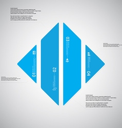 Rhombus template consists of four blue parts on vector