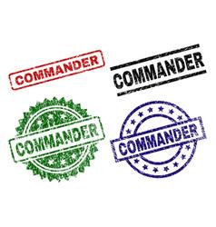 Scratched textured commander seal stamps vector