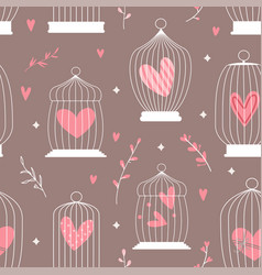 seamless decorative spring pattern with cages vector image