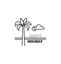 Seaside beach view summer holiday skyline vector