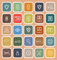 Security line flat icons on orange background vector