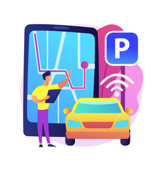 Self-parking car system abstract concept vector