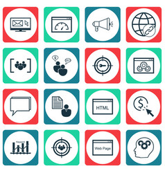 Set of 16 marketing icons includes loading speed vector