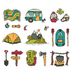 set of camping and hiking objects in doodle vector image