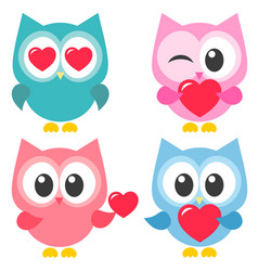 set of cute colorful owls with hearts vector image