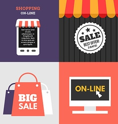 Set of Flat Design Concept Online Shopping Sale vector image