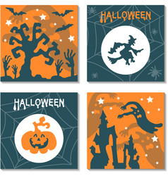 set of halloween banners in cartoon style vector image