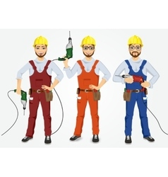 Set of hipster handymen holding drills vector