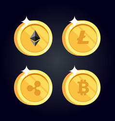 Set of icons litecoin ripple ethereum bitcoin vector