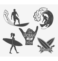 Set of surfing vintage design elements Surf logo vector