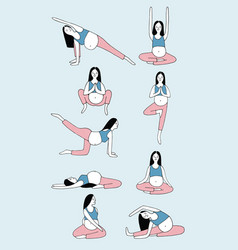 Set of yoga poses for pregnant woman girl in vector