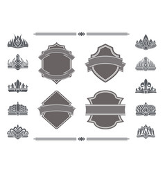 shields with blank ribbons for signs and crowns vector image