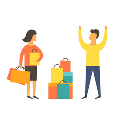 shopaholic woman buying too much angry husband vector image vector image