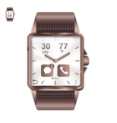 smart watch square in realistic style vector image