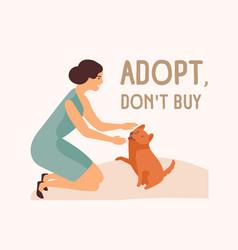 smiling woman adorable playful dog and adopt don vector image
