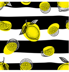 Striped seamless pattern with lemons vector