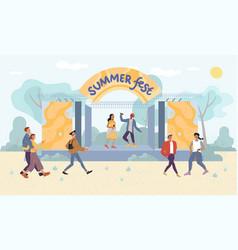 Summer festival live performance for park visitor vector