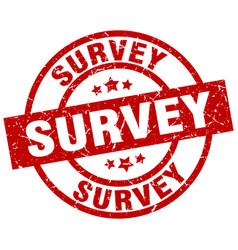survey round red grunge stamp vector image