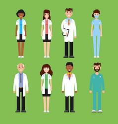team doctor surgeon nurse set of diffrent vector image