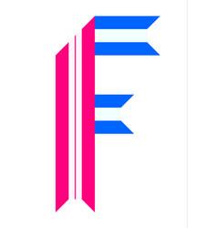 trendy alphabet letter folded from paper tape vector image