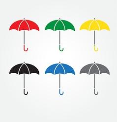 Umbrella color set vector