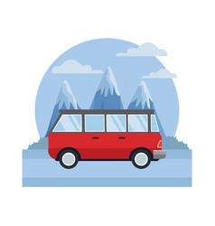 vintage van vehicle between mountains landscape vector image