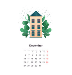 wall calendar page 2021 one month vector image