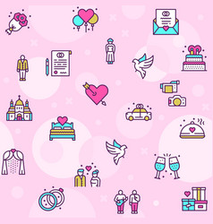 Wedding color linear icons set love vector